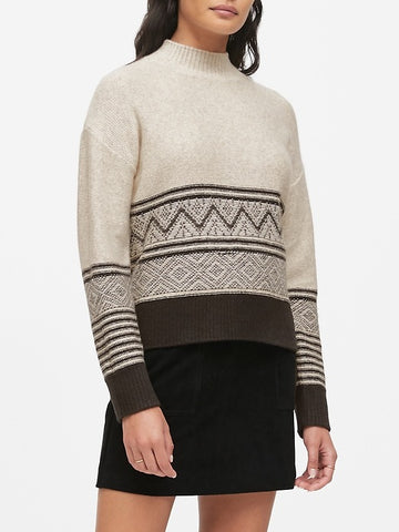 Fair Isle Mock-Neck Sweater in Black & Oatmeal Print