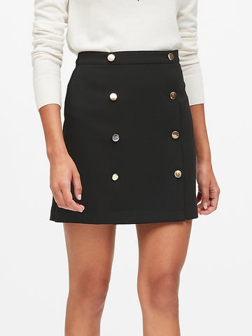 Trench Mini Skirt in Black With Gold Buttons