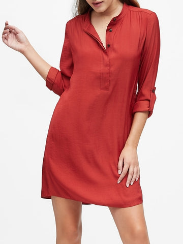 Utility Popover Shirtdress in Rich Orange