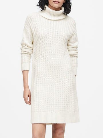 Chunky Turtleneck Sweater Dress in Ivory White