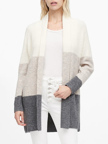 Color-Block Long Cardigan Sweater in Multi