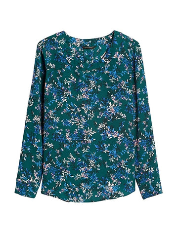 Pleat-Back Blouse in Teal Green Floral