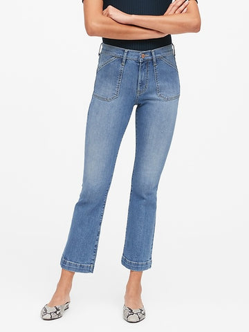 Mid-Rise Crop Flare Utility Jean in Medium Wash