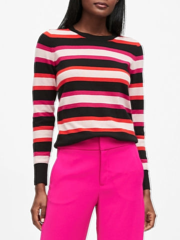 Italian Merino-Blend Stripe Sweater in Black Stripe