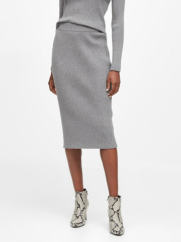 Sweater Pencil Skirt in Heather Gray