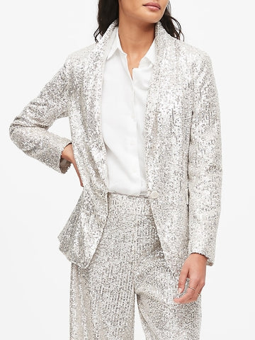 Soft Sequin Blazer in Champagne Silver Sequin