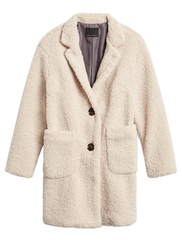 Sherpa Cocoon Coat in Off White
