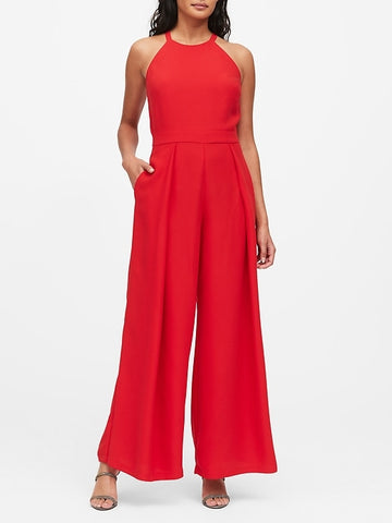 Halter Wide-Leg Jumpsuit in Ultra Red