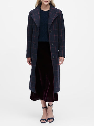 Plaid Italian Melton Long Coat in Navy
