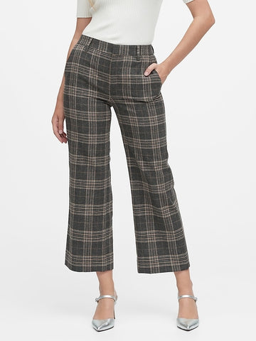 Slim Wide-Leg Flannel Cropped Pant in Heather Gray