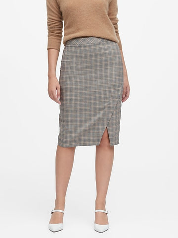Plaid Bi-Stretch Pencil Skirt in Brown Glenplaid
