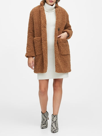 Sherpa Cocoon Coat in Toasted Marshmallow