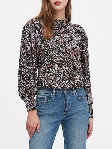Paisley Bishop-Sleeve Top in Spice Paisley Blue