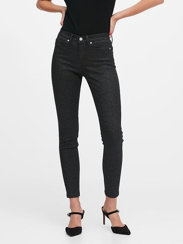 Mid-Rise Skinny Metallic Jean in Black