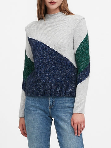Color-Block Cropped Sweater in Preppy Navy & Pine Green