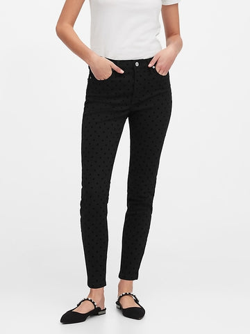 Mid-Rise Skinny Velvet Dot Jean in Black