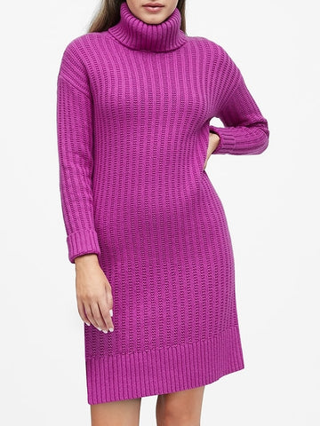Chunky Turtleneck Sweater Dress in Fuchsia Purple