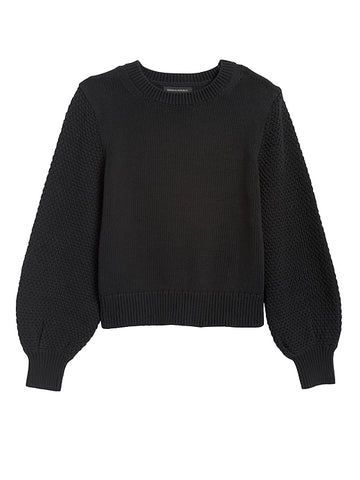 Cotton-Blend Balloon-Sleeve Sweater in Black