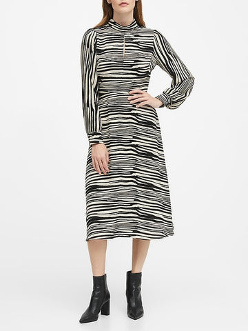 Mock-Neck Midi Dress in Zebra Print