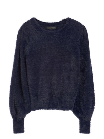 Fuzzy Puff-Sleeve Cropped Sweater in Deep Navy