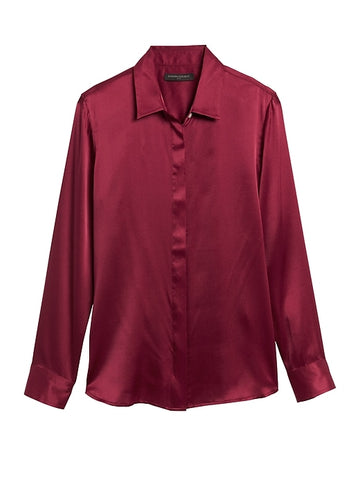 Dillon Classic-Fit Silk Shirt in Red Sunset