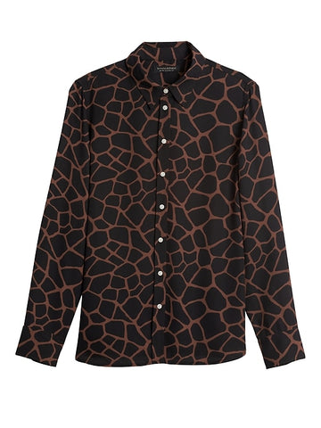 Dillon Classic-Fit Shirt in Black Giraffe Print