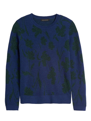 Metallic Floral Sweater in Navy