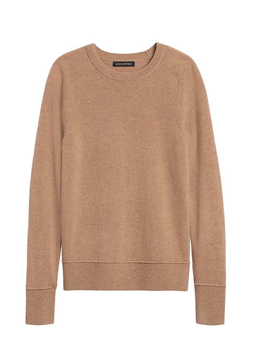 Italian Merino-Blend Crew-Neck Sweater in Camel