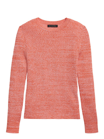 Stretch Cotton Crew-Neck Sweater in Orange