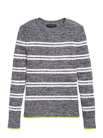 Stretch Cotton Crew-Neck Sweater in Gray Stripe