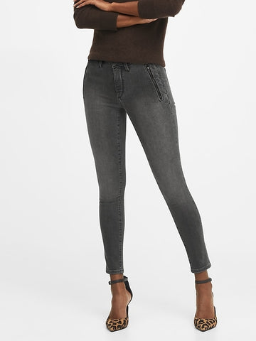 Mid-Rise Skinny Zip Pocket Jean in Washed Black