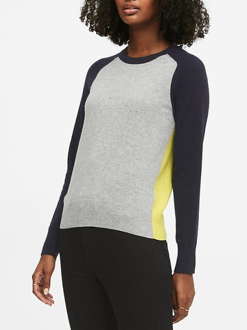 Italian Merino-Blend Raglan Sweater in Blue