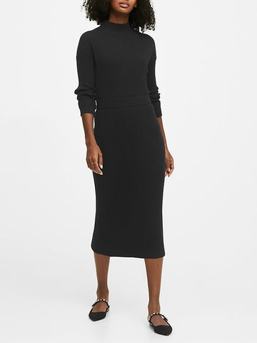Sweater Pencil Skirt in Black