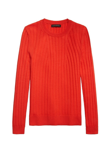 Merino Ribbed Sweater in Hot Red