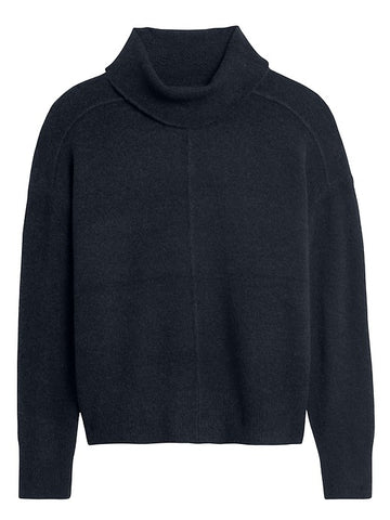 Merino-Blend Funnel-Neck Sweater in Navy