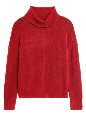 Merino-Blend Funnel-Neck Sweater in Ultra Red