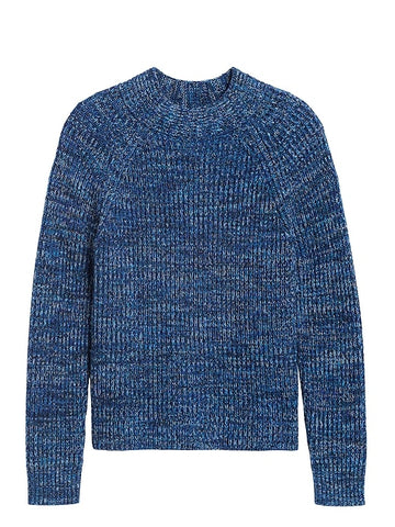 Marled Mock-Neck Sweater in Blue Marl
