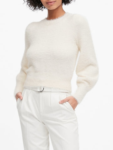 Fuzzy Puff-Sleeve Cropped Sweater in Ivory White