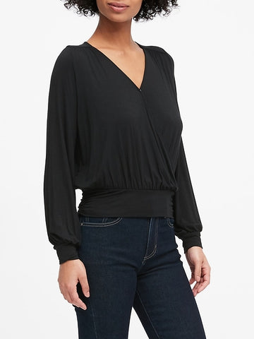 Soft Stretch Modal Surplice Top in Black