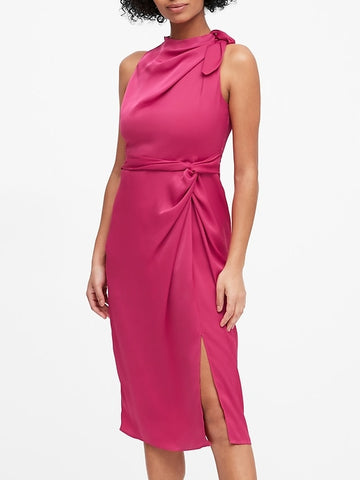 Satin Tie-Neck Sheath Dress in Party Pink