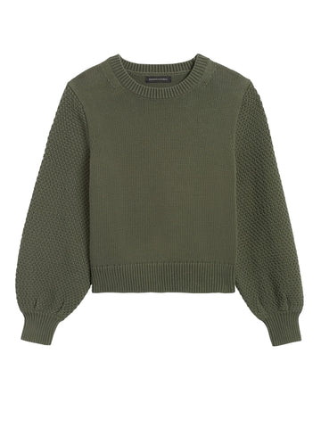 Cotton-Blend Balloon-Sleeve Sweater in Olive Green
