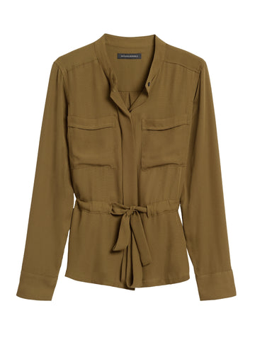 Utility Blouse in Cindered Olive Green