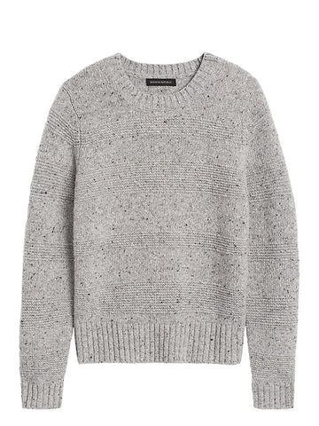 Textured-Stripe Sweater in Light Gray