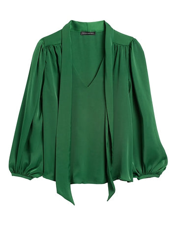 Satin Tie-Neck Top in Bottle Green