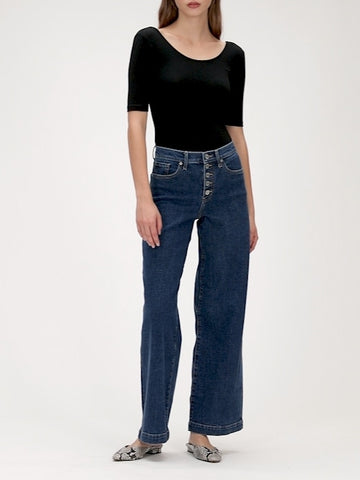 High-Rise Wide-Leg Button Fly Jean in Medium Wash