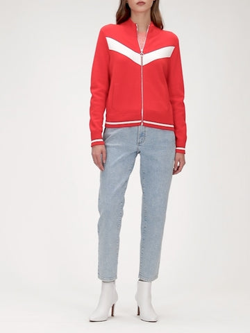 Chevron Sweater Track Jacket in Hot Red