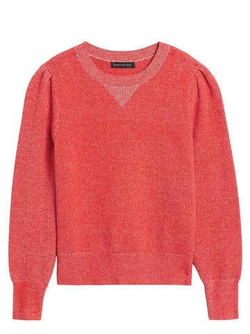 Puff-Sleeve Sweater Top in Hot Red