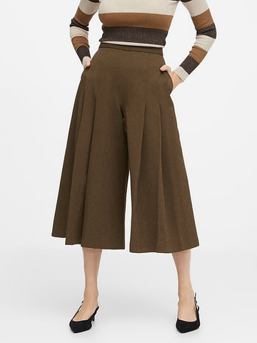 High-Rise Culottes in Brown