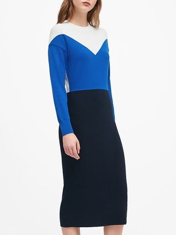 Dolman-Sleeve Sweater Dress in Navy
