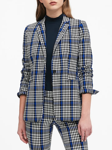 Long & Lean-Fit Plaid Blazer in Midnight Blue Gingham
